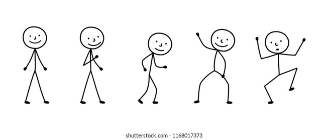 pictogram person, various poses, sketch drawing, stick figures people
