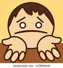 pictogram of poor sorry man that is standing on his knees & begging for help or mercy or asking for forgiveness w. stretched palms & upset & miserable expression on his face w. pulled down lip corners