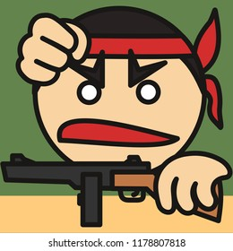 pictogram with rebel that is holding fist up while holding a rifle & angry yelling huray, furious uprising leader with head band, revolution hero during civil war, simple colored emoticon