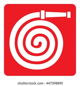 Pictogram red signaling, fire hose. Ideal for visual communication materials and safety and fire prevention