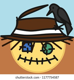 pictogram with scarecrow made out of old fabric with eye patches and stitched mouth with crow sitting on its worn straw hat, simple colored emoticon, circle shaped vector emoji in color