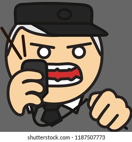 pictogram of security officer,surveillance watchman,expediter,train station dispatcher or traffic controller in uniform with cap & tie shouting to loudspeaker microphone while squeezing cord in anger