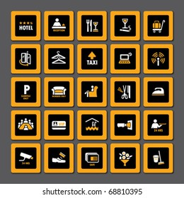 Pictogram set for hospitality industry in orange and white on black