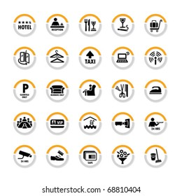 Pictogram set for hospitality industry in semicircles with shadow