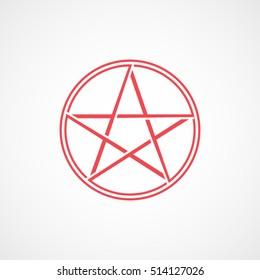 Pictogram Star Halloween Concept Red Line Icon On White Background