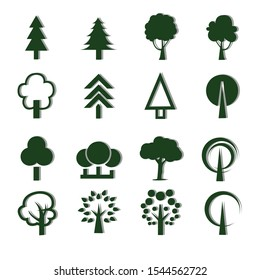Pictogram style. Flat vector trees set. Tree icons set in a modern flat style.