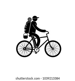 Pictogram tourist with large backpack rides bicycle.