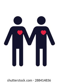 pictogram of two men in love holding hands