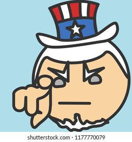 pictogram with Uncle Sam pointing finger at you, usa mascot wants you for US army, american government or president personification in striped tophat with stars, simple colored emoticon