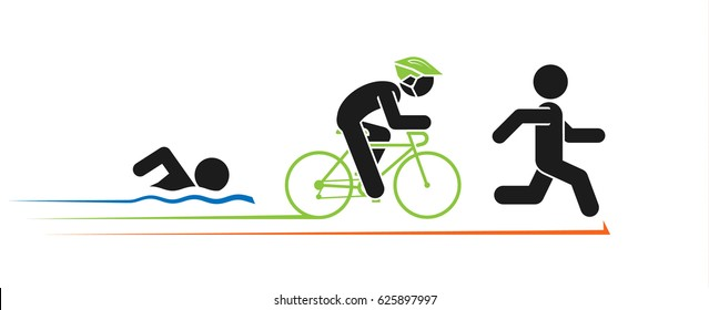 Pictogram vector illustration of triathlon. Triathlon competition with icons running, swimming and cycling.