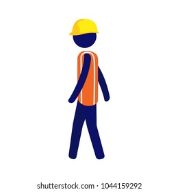 Pictogram vector man wearing yellow hard hat and orange vest walking to the left