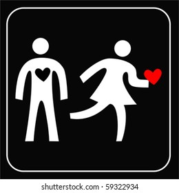 Pictogram With Woman And Man Broken Heart Couple Love Icon Isolated On White