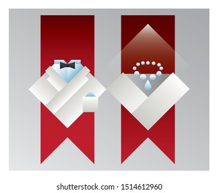 Pictograms of bride and groom, flat vector design