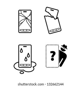 Pictograms / icons of mobile phone damage: cracked screen, broken case, water damage, and theft/loss.