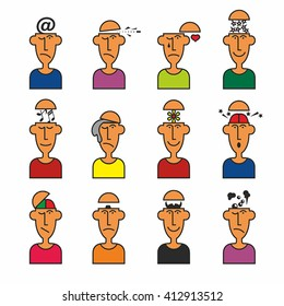 Pictograms. Men's head. Emotions, clothes, thoughts. Simple vector.