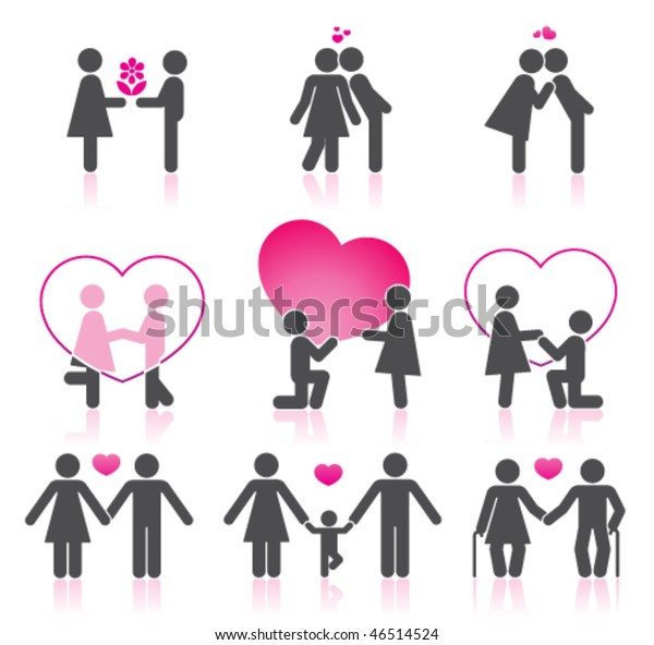 Pictogramas que representan pareja en el amor
