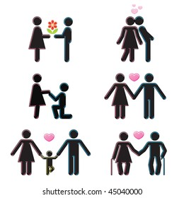 Pictograms which represent young couple in love