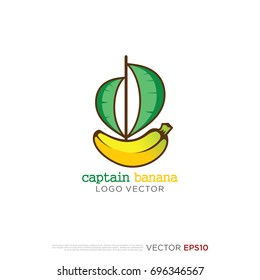 Pictograph of banana fruit for template logo, icon, and identity vector designs