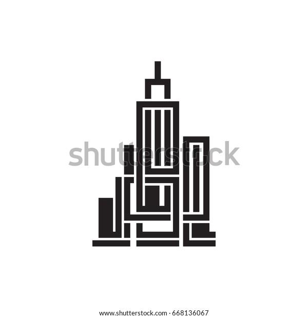 Pictograph Building Template Logo Icon Identity Stock Vector