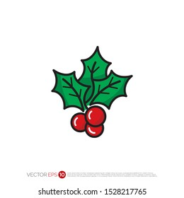 Pictograph of chirstmas holly for template logo, icon, and identity vector designs.