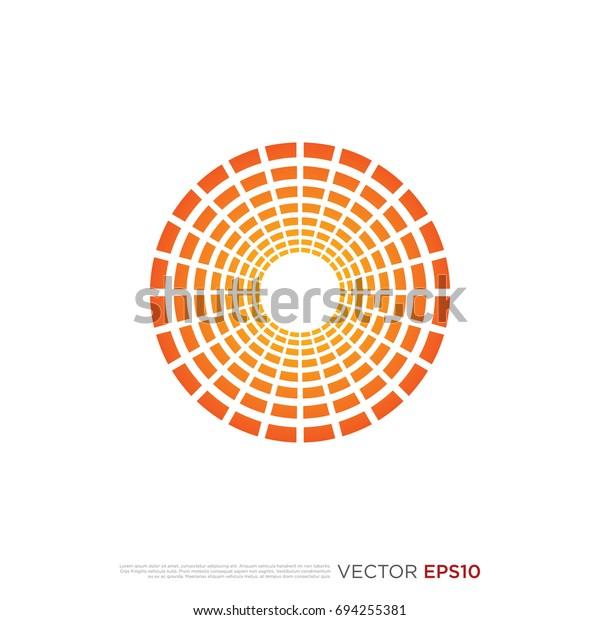 Pictograph Concentric Bars Circle Beams Icon Stock Vector