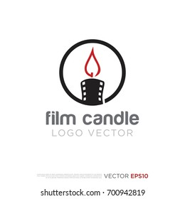 Pictograph of flame with film as candle for template logo, icon, and identity vector designs