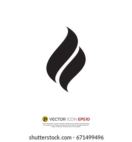 Pictograph of flame for icon, logo and identity designs