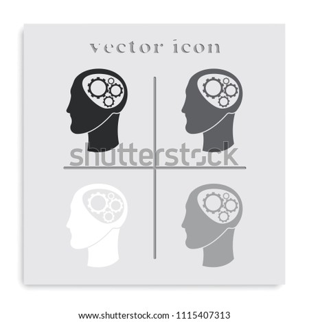 Pictograph of gear in head flat black and white vector icon