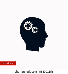 Pictograph of gear in head icon, flat design best vector icon