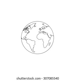Pictograph of globe. Outline black simple vector pictogram