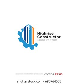 Pictograph of high rise building tower combine with gear for icon, logo and identity designs