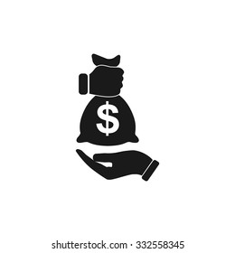 Pictograph of money in hand. Flat design style eps 10