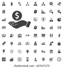 Pictograph of money in hand. Vector icon on white background. Business set of icons
