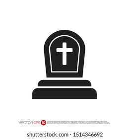 Pictograph of tombstone for template logo, icon, and identity vector designs.