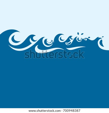 pictograph waves blue ocean template background stock vector