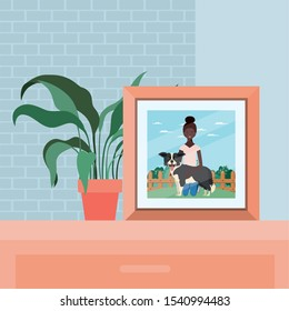 picture of afro woman with cute dog in the field vector illustration design