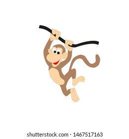 In the picture the animal is a monkey. Vector drawing for zoo, baby illustration.