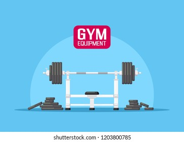 Picture of a barbell with additional weights. Gym equipment. Bodybuilding, powerlifting, fitness concept. Flat style illustration.