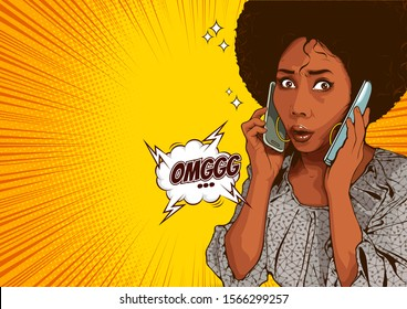 picture of beautiful african american woman talking on two phones, She is busy and stressed about talking business work, cover template background, speech bubbles, doodle art, vector illustration.