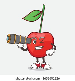 A picture of bing cherry cartoon mascot character using a monocular
