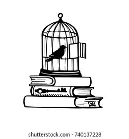 Picture of a bird in a cage. Sketch of tattoo