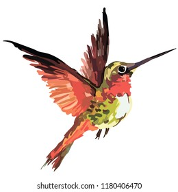 Picture of a bird in color. Vector
