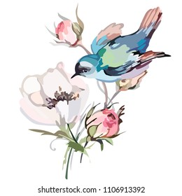 Picture of a bird on flowers in color. Vector