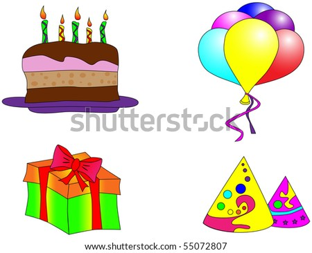 Picture Of Birthday Cake Balloons Gift And Caps