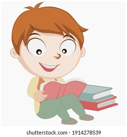 picture of boy reading a book happily