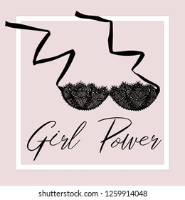Сard with a picture of a bra. Lettering Girl Power.  Sexy symbol collection  for women underwear. For business cards, posters, advertising booklets.