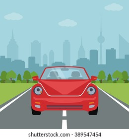 Picture of car on the road with forest and big city silhouette on background, flat style illustration