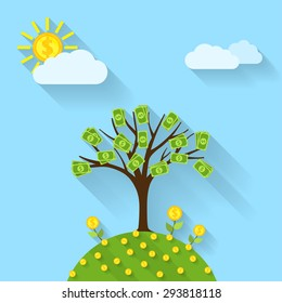 picture of a cartoon landscape with money tree, sun, flowers and clouds, flat style illustration