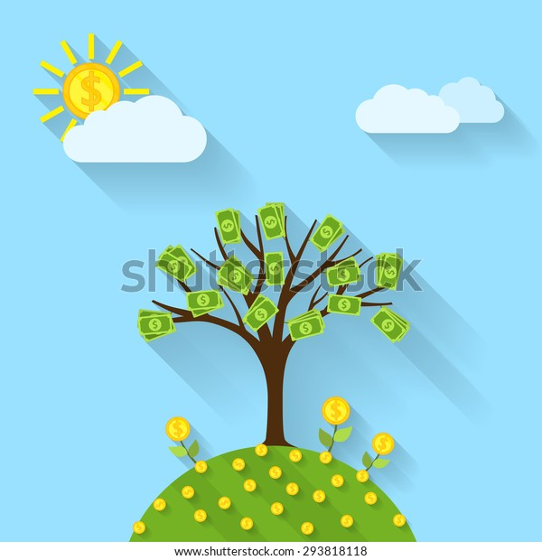 Picture Cartoon Landscape Money Tree Sun Stock Vector Royalty Free 293818118 A big tree with light brown trunk and thick green leaves, bearing brown bags of dollars as its fruit. https www shutterstock com image vector picture cartoon landscape money tree sun 293818118