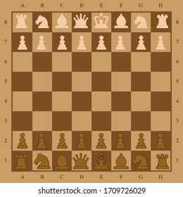 Picture of chessboard with chess figures on it. Flat design modern vector illustration concept of chess on chessboard. Strategic position and tactic for long-term success plan or goal. Isolated.